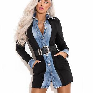 By-Alina-Mexton-Damen-Jeanskleid-Bodycon-Kleid-Jeans-Blazer-Minikleid-XS-S-M
