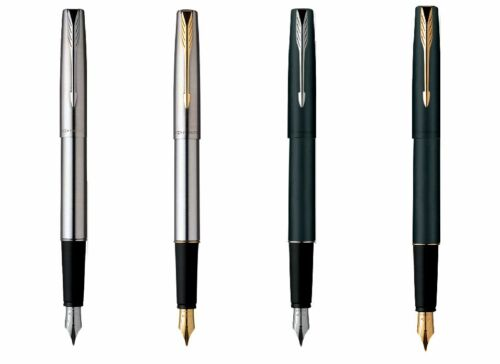 Gold Plated Trim Parker Frontier Stainless Steel Ink Fountain Pen In Chrome