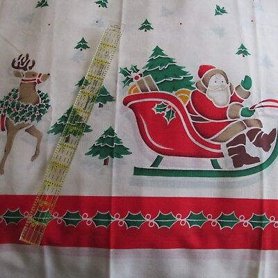 Xmas print cottons red and cream with festive Stamps crafts