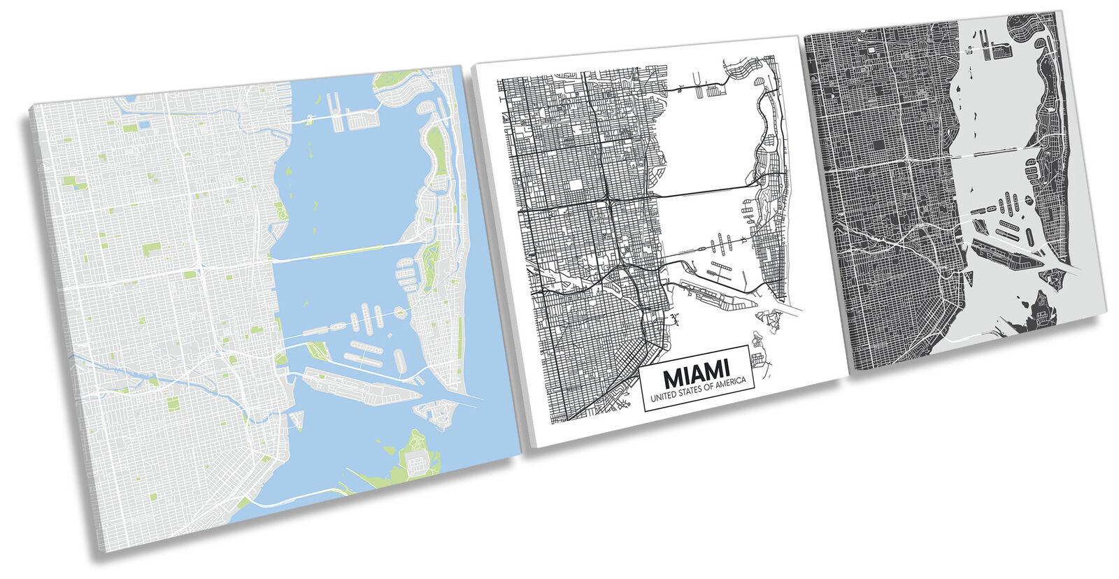 Miami US City Map Set of 3 CANVAS WALL ART Print Treble Multi-Colourot