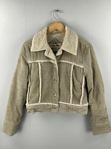 Paris-Blues-Women-s-Vintage-Corduroy-Sherpa-Jacket-Size-Medium-Brown
