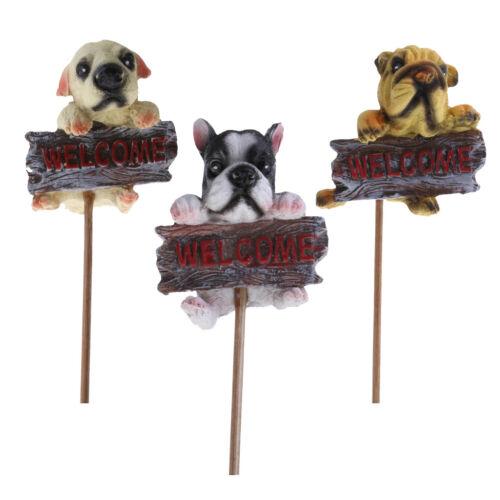 3pcs Harz Hund Ornament Tierfigur Spike Pflanztopf Puppenhaus Wohnkultur