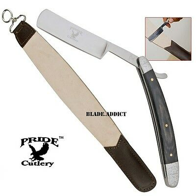Salon Shaving Straight Blade Barber Razor & Leather Sharpening Strop Set PL4- X