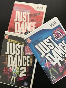 Just-Dance-Nintendo-Wii-Lot-of-3-Video-Games-Just-Dance-1-2-3-TESTED-WORKING