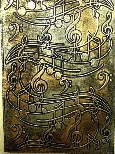 5 STUNNING Music Embossed Black Card Toppers With Gold and Silver Gilding Wax