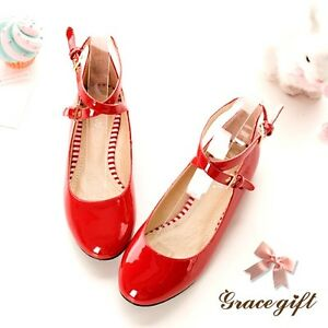 Ladies-Sweet-Ankle-Strap-Round-Toe-Flat-Pumps-Mary-Janes-Lolita-Shoes-Hot-Sale-S