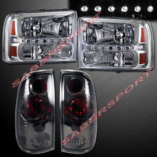99-04 FORD F250 F350 SUPERDUTY CHROME HEADLIGHTS 1PC STYLE + SMOKE TAIL LIGHTS