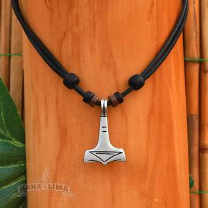 Thorshammer-Thor-Hammer-Mjoelnir-Lederkette-Halskette-Halsband-Wikinger-Kette
