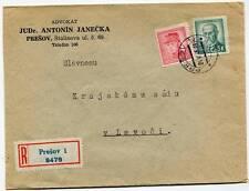 Czechoslovakia Prešov-1 Registered Cover 24.V 1948 Advokat JUDr. Antonin Janečka