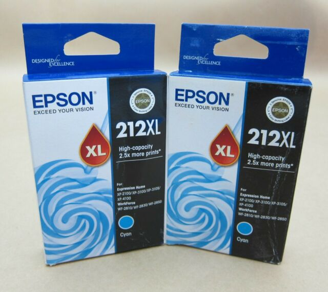 [1283*] 2x (Two) EPSON 212XL CYAN INKS - C13T02X292 ( RRP>$50 )