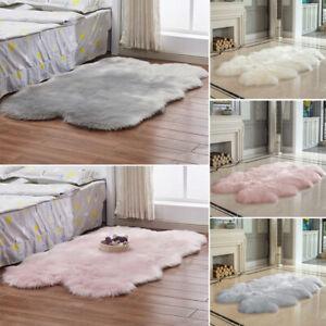 Fluffy White Grey Pink Faux Sheepskin Rug Large Fur Floor ...