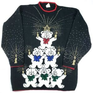Holiday-Time-Womens-Sz-M-Ugly-Christmas-Sweater-Bears-Candles-Shimmer-Black