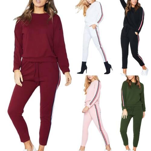Women Jogging Suit Tracksuit Hooded Sweatshirt Jacket Crop Tops Pants Gym Wear