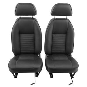 Triumph Tr4 Tr4a Tr5 Tr6 Faced Seats Leather Pair Black 646 560 Ebay