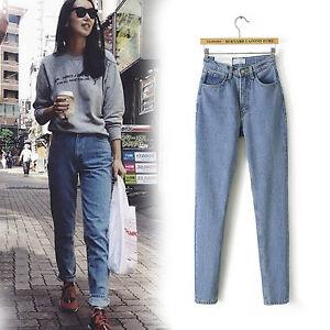 Women-Denim-High-Waist-Boyfriend-Jeans-Loose-Cowboy-Slim-Pencil-Pants-Trousers