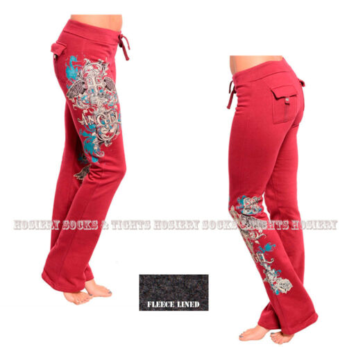 #04 Choose a Size-S,M,L,XL Burgundy FLEECE lined Pants,Tattoo Print,Rhinestones