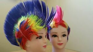Rainbow-Wigs-Unisex-Cosplay-Costume-Party-Beautiful-Wigs-Bright-Colors-UK-Seller