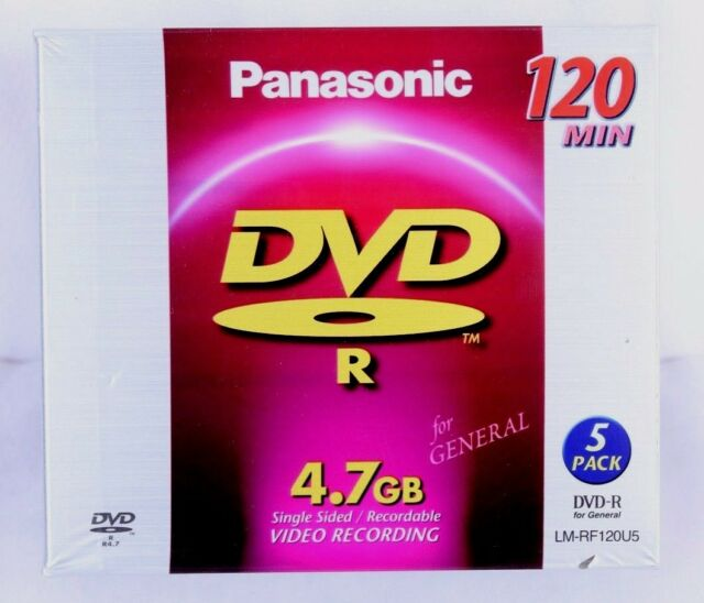 Panasonic 4.7GB Single Sided Recordable DVD R Disc 5 Pack 120min Factory Sealed