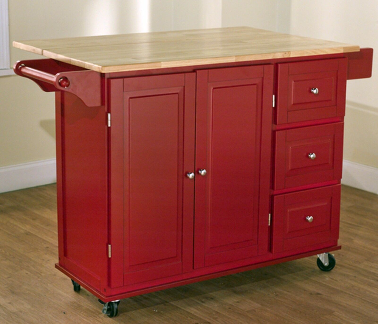 Large Red Kitchen Cart Island Rolling Storage Cabinet Wood