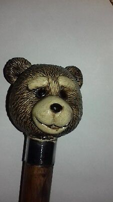 Ted/walking Stick/cane/ Complete/ted 2/ Teddy Bear/ Head Elegant Appearance Woodenware Antiques