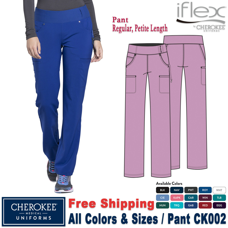 Scrubs Cherokee IFLEX Mid Rise Straight Leg Pull-on Pant CK002 Ciel BlueFREE SHP