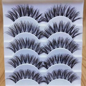 5-Pairs-Handmade-Natural-Thick-Long-Cross-False-Eyelashes-Makeup-Fake-Eye-Lashes