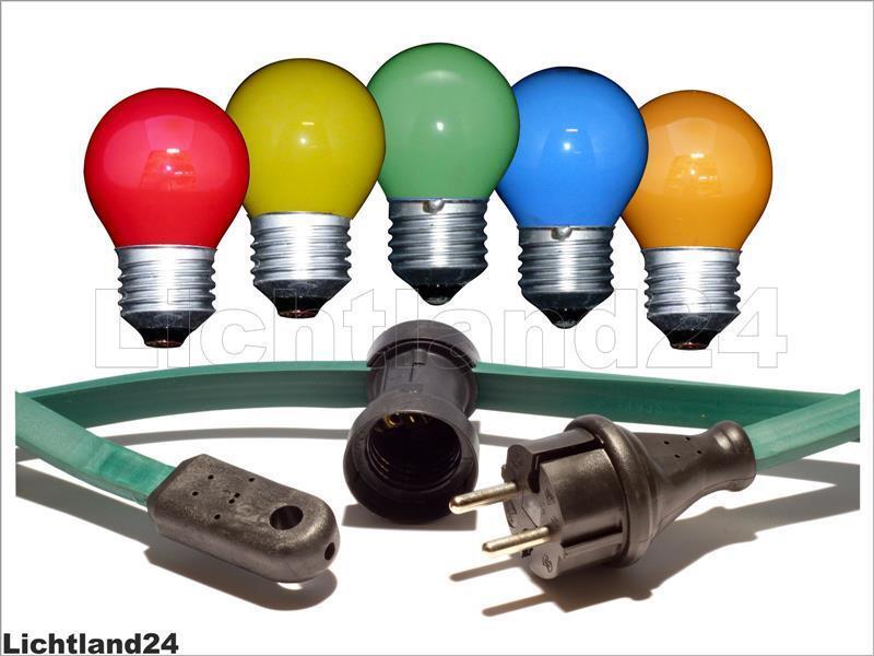 10 Meter Profi Glühlampen Illu Lichterkette mit 10 bunten Tropfen 15 W    Gute Qualität