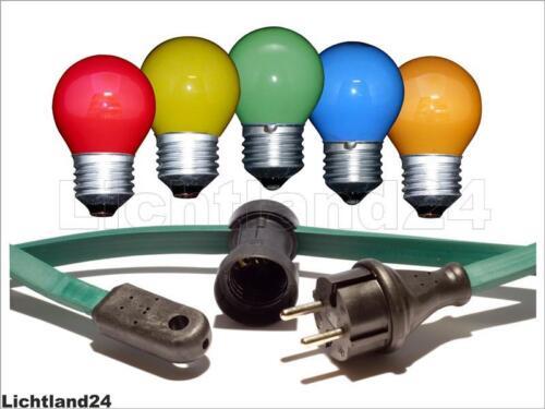 10 Meter Profi Glühlampen Illu Lichterkette mit 10 bunten Tropfen 15 W