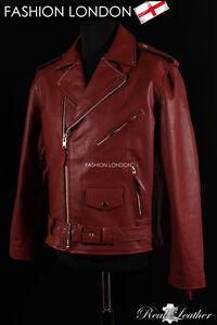 Men S Brando Cherry Burgundy Motorcycle Motorbike Real Cowhide