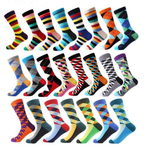 Mens Funny Cotton Socks Novelty Colorful Argyle Stripe Dots Dress Socks For Gift