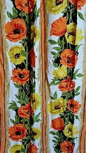 Vintage-Mid-Century-Drapes-Pair-Orange-Yellow-Green-Floral-Poppies-Bright-Stripe