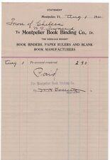 1911 Billhead, MONTPELIER BOOK BINDING CO, Dr., Montpelier, Vermont