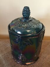 "Indiana Blue Carnival Glass Grape and Cable candy dish or biscuit  jar 7"" lid"