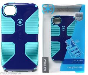free shipping 941f5 afa82 Details about Speck Case APPLE iPhone 4 4s Candyshell Grip Blue/Green Cover  Slim Shell Bumper