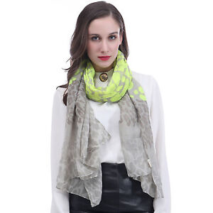 2d7d442c0e Neon Leopard Animal Print Womens Large Scarf Shawl Wrap Ladies Gift ...