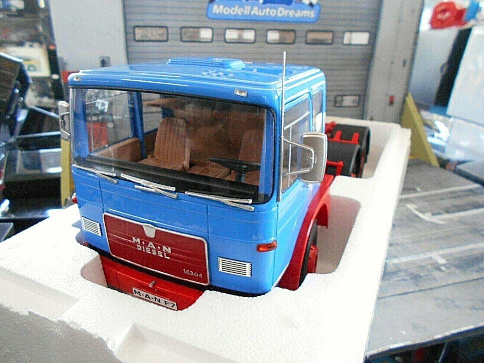 Man f7 16.304 1972 blu rosso blu rosso camión camión disociada Road King enorme rar 1 18