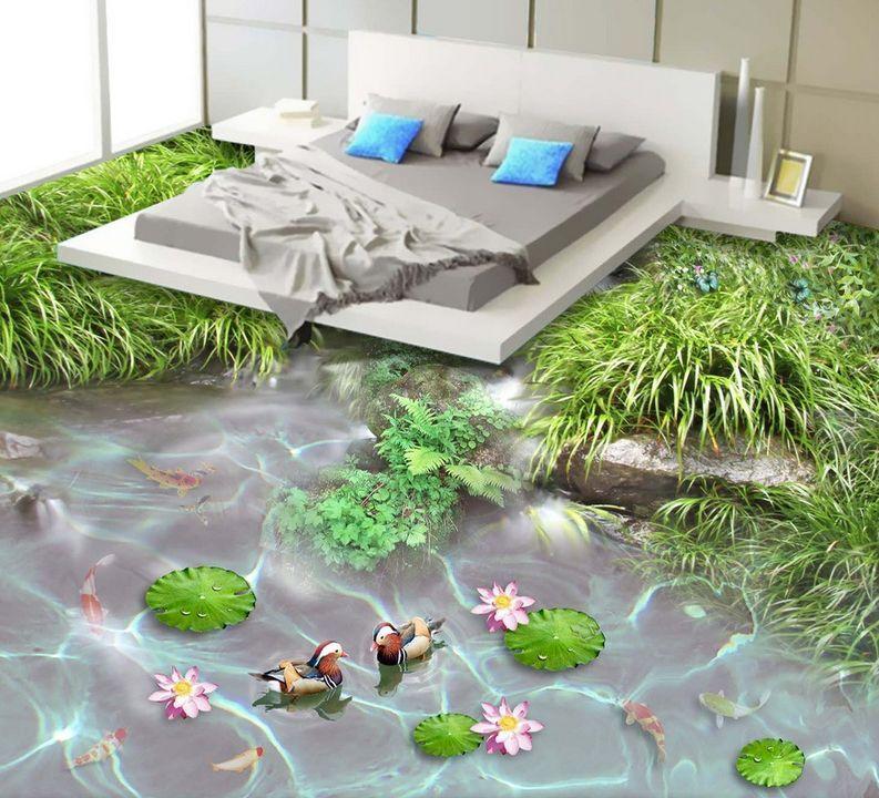 3D fish garden Grün 945 Floor WallPaper Murals Wall Print Decal 5D AJ WALLPAPER
