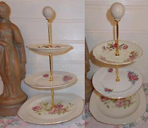 3 TIER PASTRY CAKE PLATE STAND DISPLAY PINK ROSE MISMATCH CREAM WARE