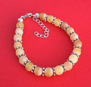 Yellow-Frosted-Agate-Gemstone-Handmade-Unique-Women-039-s-Bracelet-Aussie-Seller