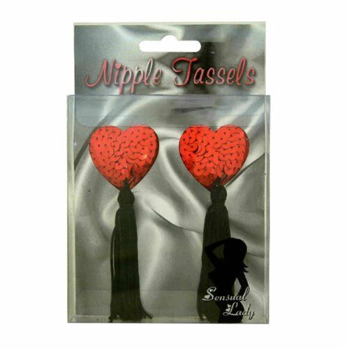 Nipple Tassels Adult Novelty Diabolical Sequin Naughty Joke Fun Gift Party Red