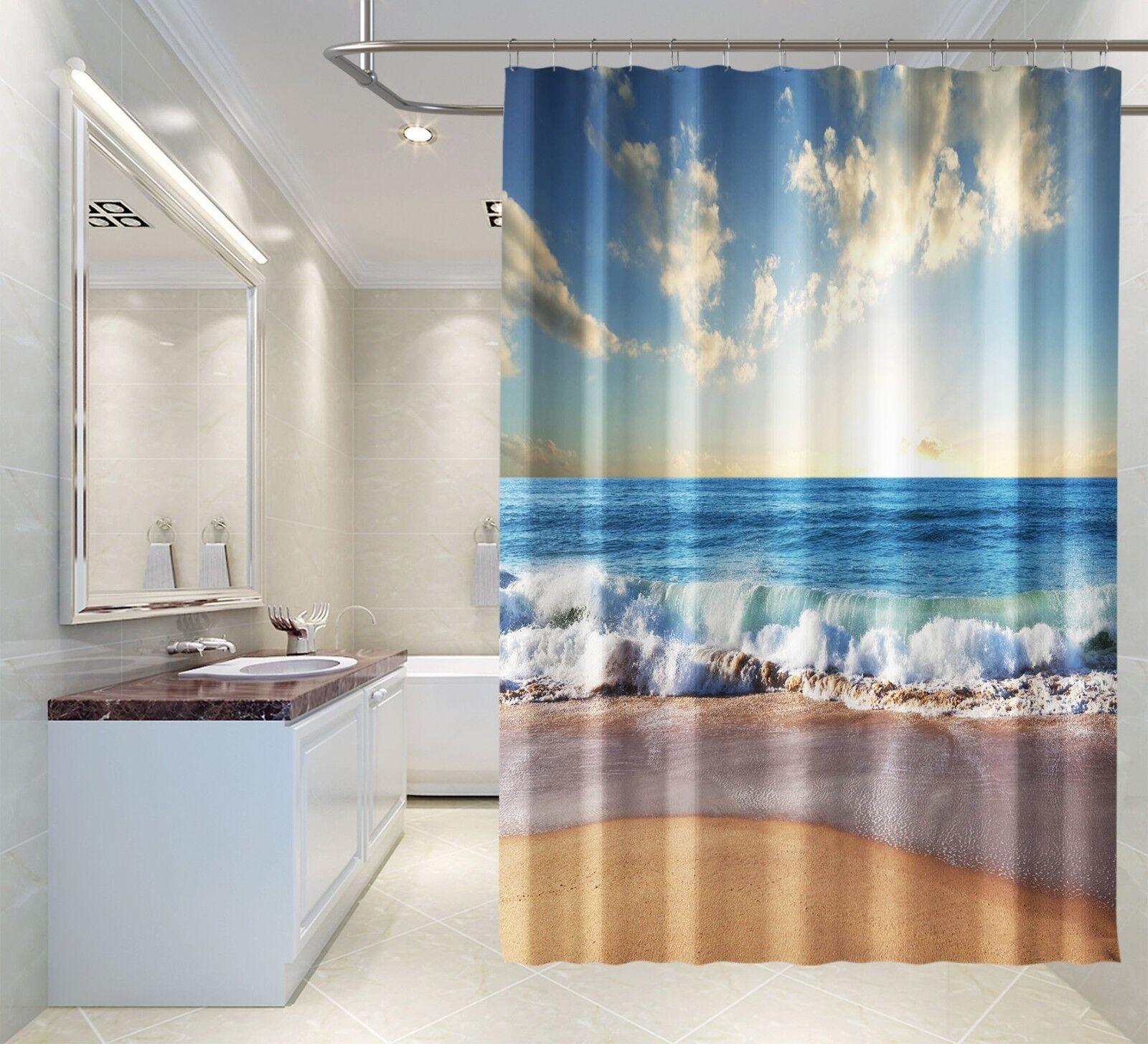 3D Strand Himmel 3 Duschvorhang Wasserdicht Faser Bad Daheim Windows Toilette DE