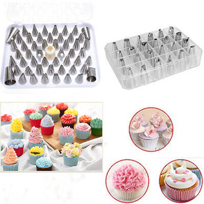 24Pcs Icing Piping Nozzles Pastry Tips Cake Sugarcraft Decorating Bakery Tools