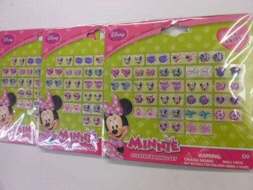DISNEY MINNIE MOUSE STICKER EARRINGS 24 PAIR PACK OF 3 CARDS PARTY FAVOR NIP