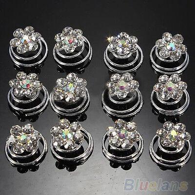 Wholesale 12X Bridal Clip Crystal Hair Pin Spiral Hairpins Hair Accessories B5CU