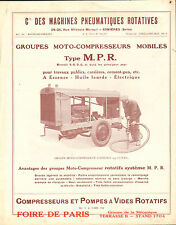Groupes MOTO-COMPRESSEURS MOBILES type M.P.R., prospectus 1931