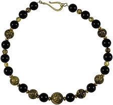 Kette Collier Halskette Murano Onyx Schmuck Necklace Gold Schwarz Black edel