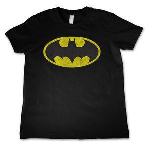 Licence-Officielle-Batman-Logo-Vieilli-Unisexe-Enfants-T-Shirt-Ages-3-12-Ans
