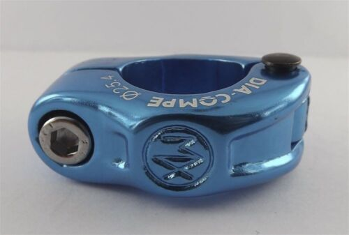 """New Dia-Compe MX Hinged Old School BMX Seat Clamp 1/"""" Blue Anodized 25.4mm"""
