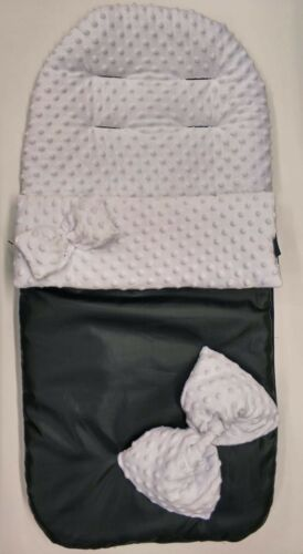 Grey Dimple Bows Waterproof fleece cosytoes footmuff For SilverCross Prams