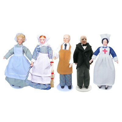 4Pcs Antique 1//12 Dolls House Miniature Porcelain Doll People Model Decor